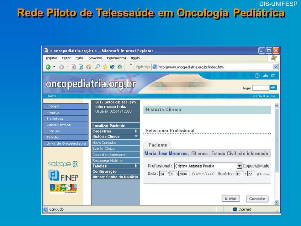 DIS-UNIFESP Rede Piloto de Telessaúde em Oncologia Pediátrica Hospital Base de Porto Velho (RO) Hospital NS Glória (Vitória-ES) Lab.