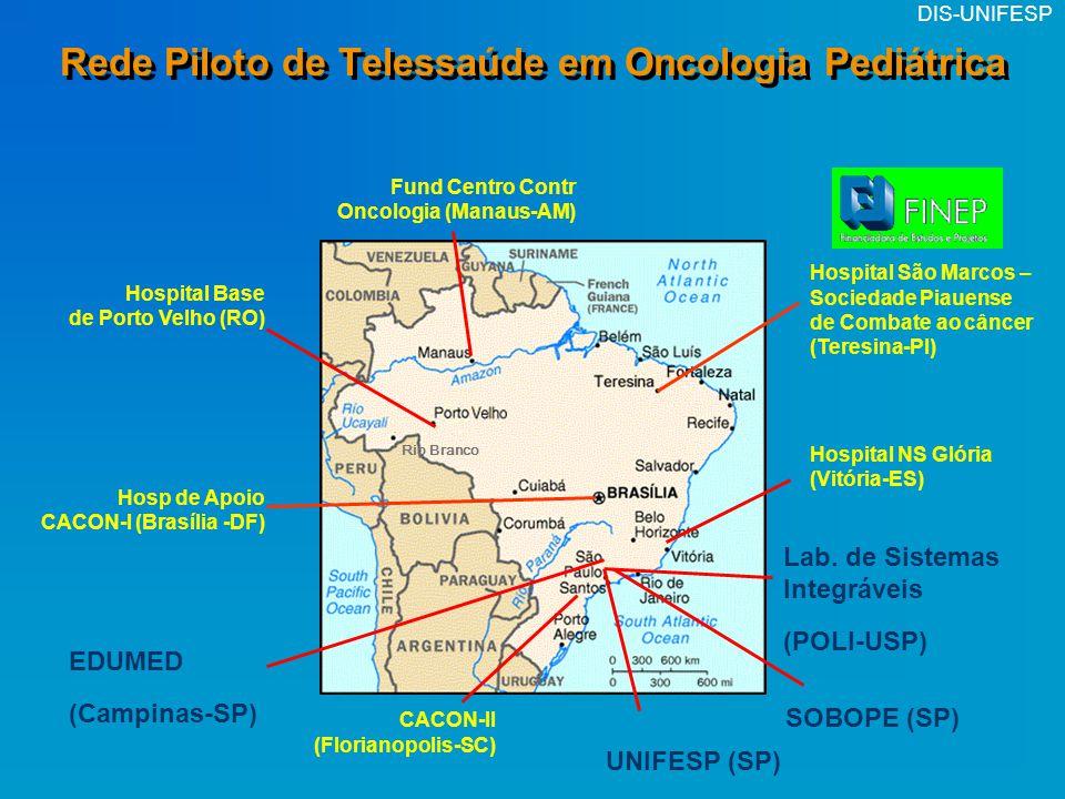 DIS-UNIFESP Rede Piloto de Telessaúde em Oncologia Pediátrica Hospital Base de Porto Velho (RO) Hospital NS Glória (Vitória-ES) Lab. de Sistemas Integ