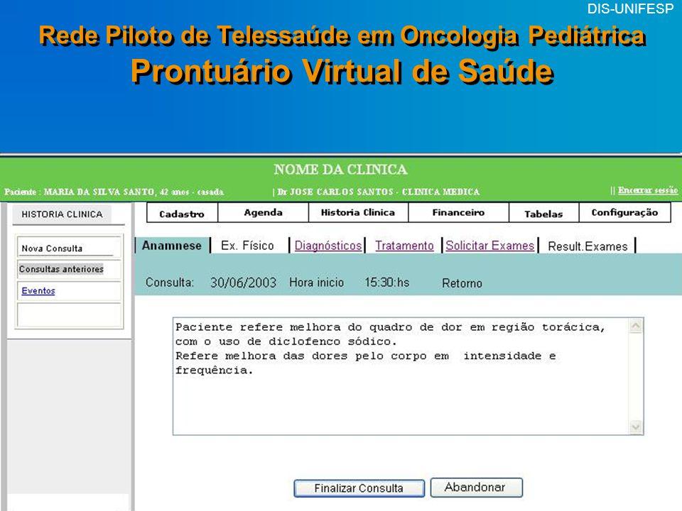 DIS-UNIFESP Rede Piloto de Telessaúde em Oncologia Pediátrica Prontuário Virtual de Saúde