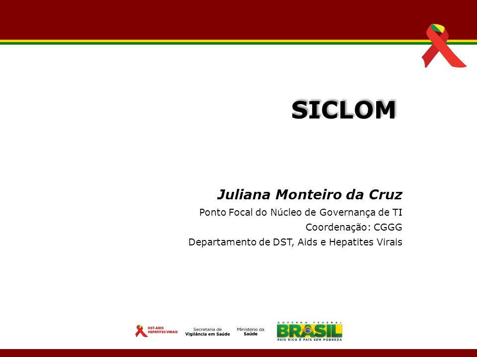 Juliana Monteiro da Cruz Ponto Focal do Núcleo de Governança de TI Coordenação: CGGG Departamento de DST, Aids e Hepatites Virais SICLOM