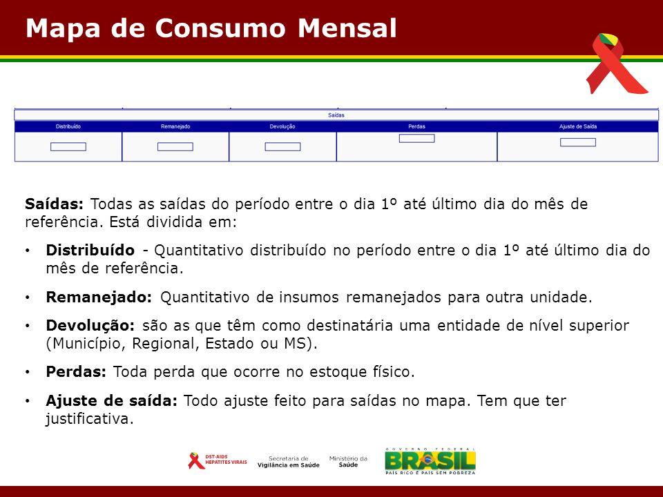 Mapa de Consumo Mensal Saídas: Todas as saídas do período entre o dia 1º até último dia do mês de referência. Está dividida em: Distribuído - Quantita