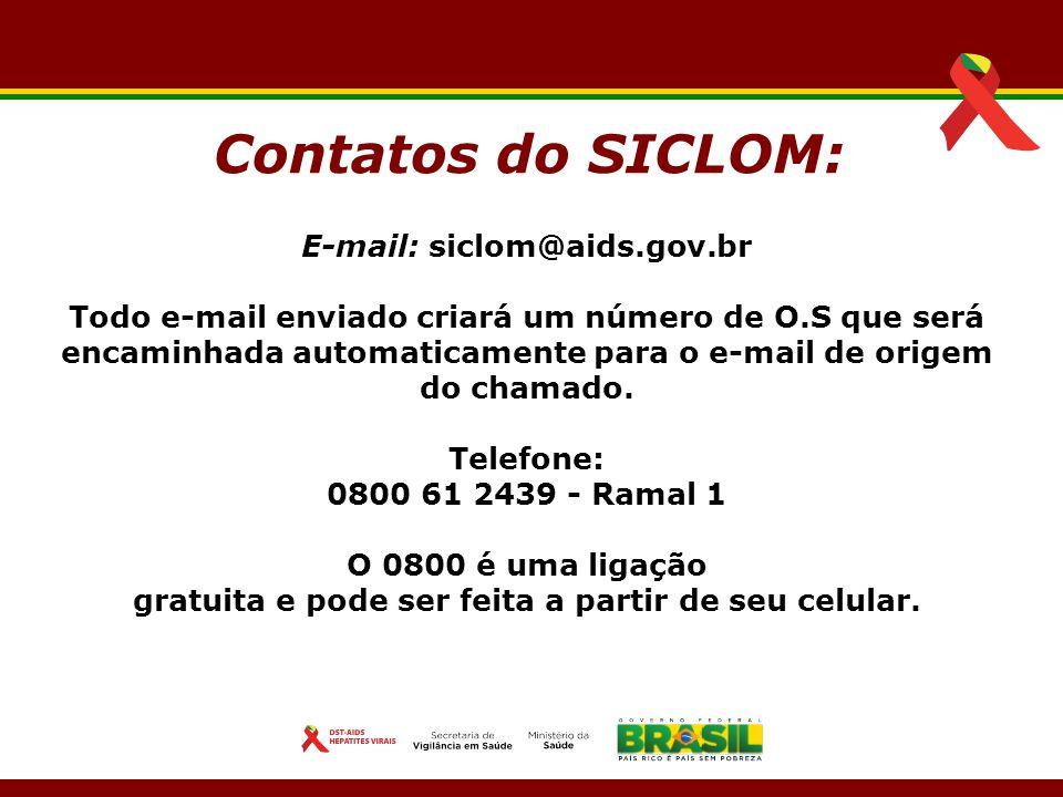 E-mail: siclom@aids.gov.br Todo e-mail enviado criará um número de O.S que será encaminhada automaticamente para o e-mail de origem do chamado. Telefo