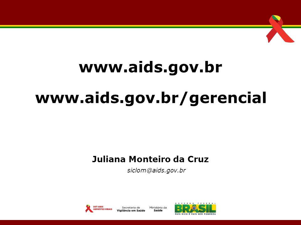 Juliana Monteiro da Cruz siclom@aids.gov.br www.aids.gov.br www.aids.gov.br/gerencial