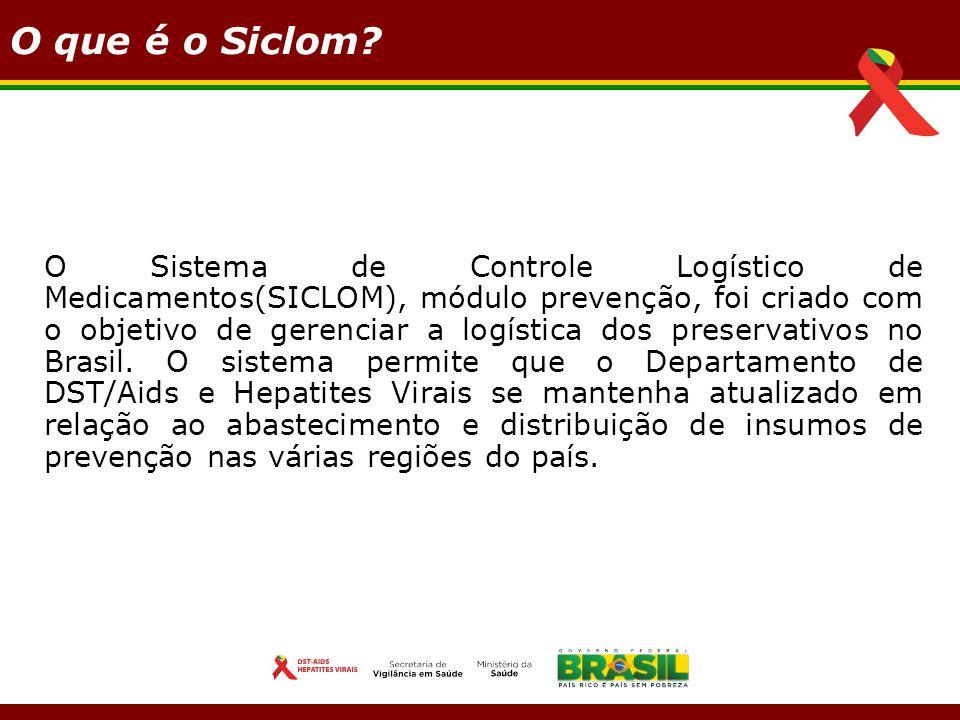 O que é o Siclom? O Sistema de Controle Logístico de Medicamentos(SICLOM), módulo prevenção, foi criado com o objetivo de gerenciar a logística dos pr