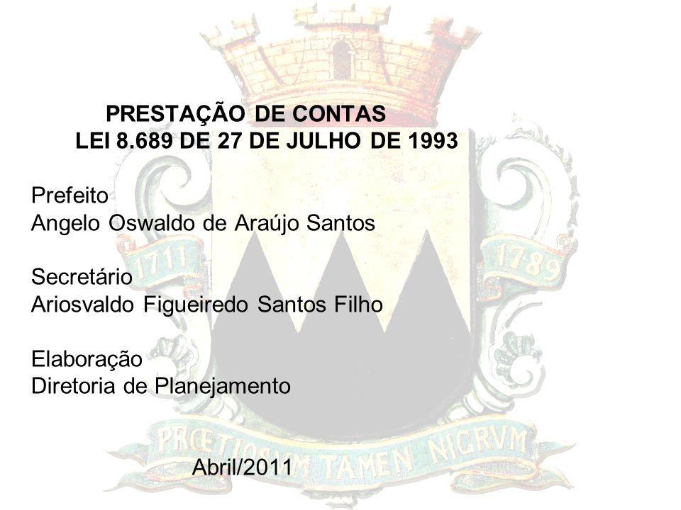 PRESTAÇÃO DE CONTAS LEI 8.689 DE 27 DE JULHO DE 1993 Prefeito Angelo Oswaldo de Araújo Santos Secretário Ariosvaldo Figueiredo Santos Filho Elaboração