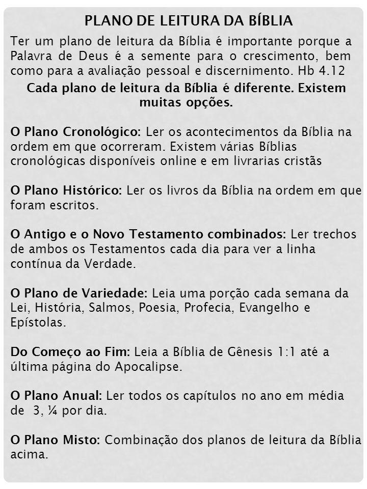 PLANO DE LEITURA DA BÍBLIA Ter um plano de leitura da Bíblia é importante porque a Palavra de Deus é a semente para o crescimento, bem como para a ava