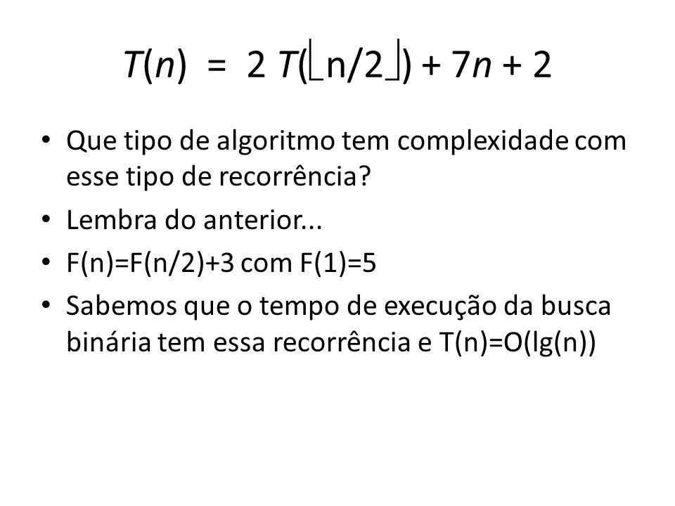 T(n) = 2 T( n/2 ) + 7n + 2 Que tipo de algoritmo tem complexidade com esse tipo de recorrência.