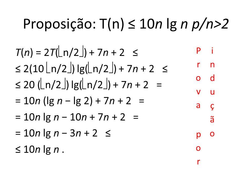 Proposição: T(n) 10n lg n p/n>2 T(n) = 2T( n/2 ) + 7n + 2 2(10 n/2 ) lg( n/2 ) + 7n + 2 20 ( n/2 ) lg( n/2 ) + 7n + 2 = = 10n (lg n lg 2) + 7n + 2 = = 10n lg n 10n + 7n + 2 = = 10n lg n 3n + 2 10n lg n.