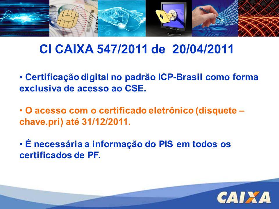 CI CAIXA 547/2011 de 20/04/2011 Certificação digital no padrão ICP-Brasil como forma exclusiva de acesso ao CSE. O acesso com o certificado eletrônico