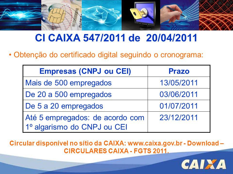 Obtenção do certificado digital seguindo o cronograma: Empresas (CNPJ ou CEI)Prazo Mais de 500 empregados13/05/2011 De 20 a 500 empregados03/06/2011 D