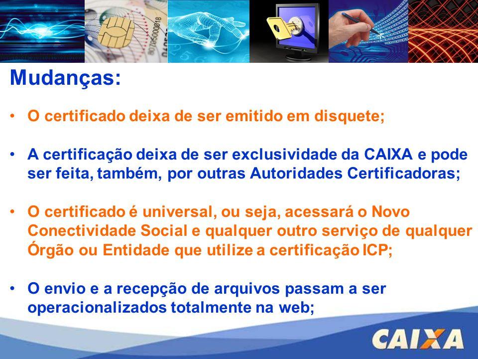 Mudanças: O certificado deixa de ser emitido em disquete; A certificação deixa de ser exclusividade da CAIXA e pode ser feita, também, por outras Auto