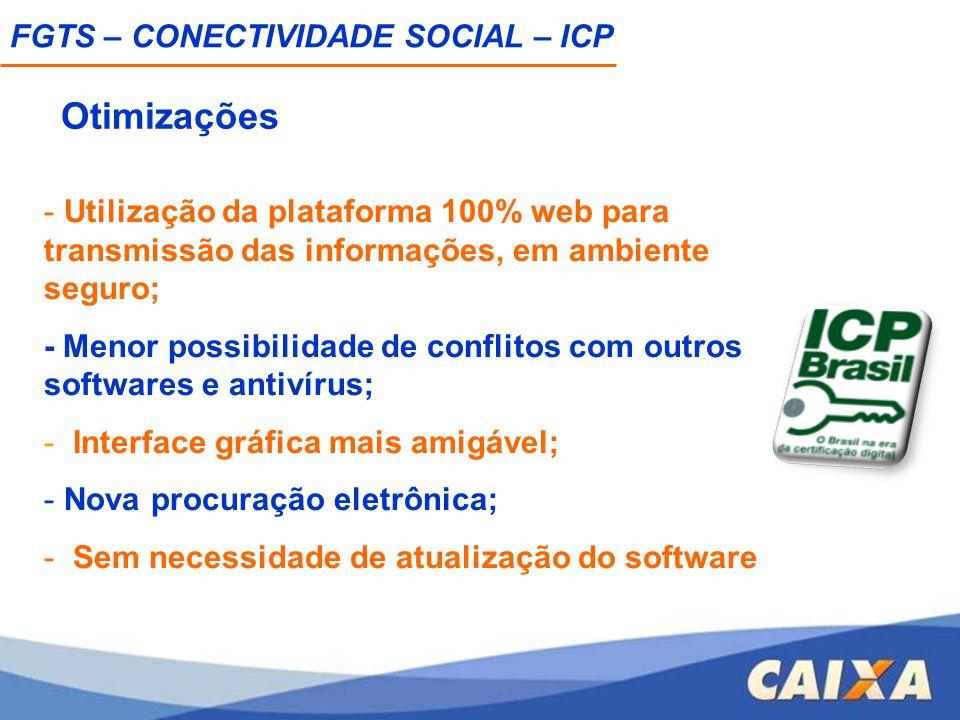 - Utilização da plataforma 100% web para transmissão das informações, em ambiente seguro; - Menor possibilidade de conflitos com outros softwares e an
