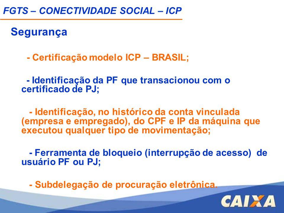 Segurança - Certificação modelo ICP – BRASIL; - Identificação da PF que transacionou com o certificado de PJ; - Identificação, no histórico da conta v