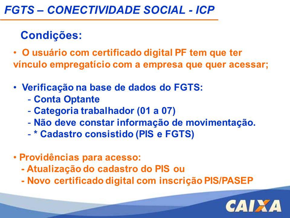 O usuário com certificado digital PF tem que ter vínculo empregatício com a empresa que quer acessar; Verificação na base de dados do FGTS: - Conta Op