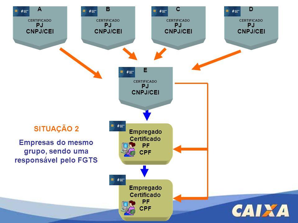 Empregado Certificado PF CPF A CERTIFICADO PJ CNPJ/CEI Empregado Certificado PF CPF SITUAÇÃO 2 Empresas do mesmo grupo, sendo uma responsável pelo FGT