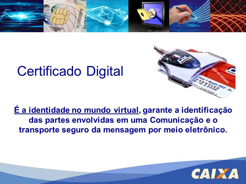 Certificado Digital É a identidade no mundo virtual, garante a identificação das partes envolvidas em uma Comunicação e o transporte seguro da mensage