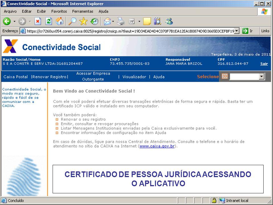CERTIFICADO DE PESSOA JURÍDICA ACESSANDO O APLICATIVO