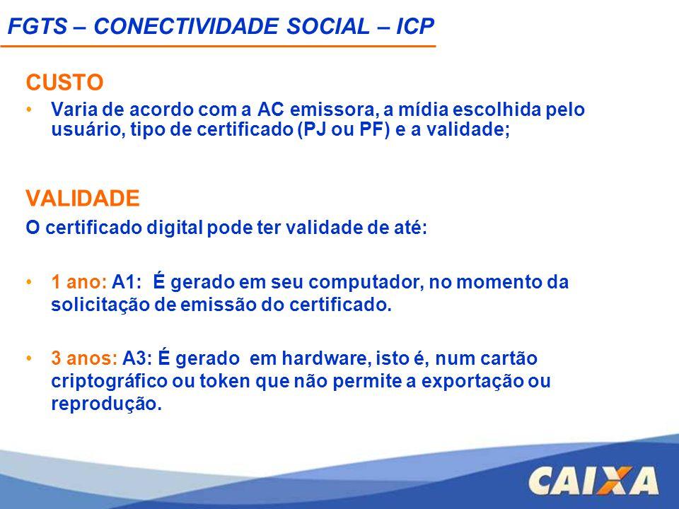 CUSTO Varia de acordo com a AC emissora, a mídia escolhida pelo usuário, tipo de certificado (PJ ou PF) e a validade; VALIDADE O certificado digital p