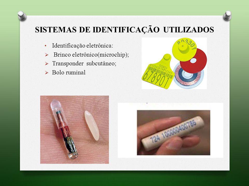 SISTEMAS DE IDENTIFICAÇÃO UTILIZADOS Identificação eletrônica: Brinco eletrônico(microchip); Transponder subcutâneo; Bolo ruminal