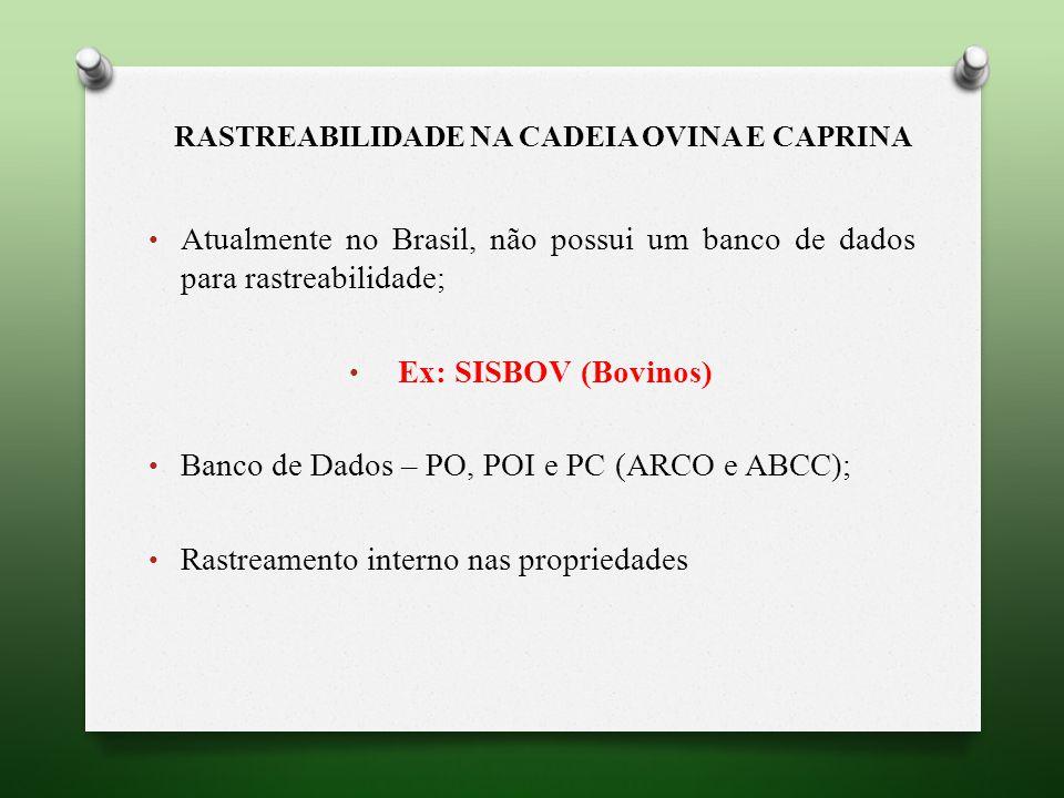 Atualmente no Brasil, não possui um banco de dados para rastreabilidade; Ex: SISBOV (Bovinos) Banco de Dados – PO, POI e PC (ARCO e ABCC); Rastreamento interno nas propriedades
