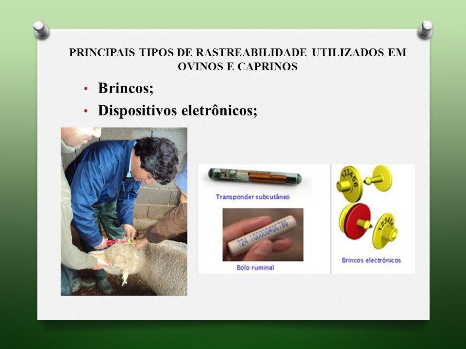 PRINCIPAIS TIPOS DE RASTREABILIDADE UTILIZADOS EM OVINOS E CAPRINOS Brincos; Dispositivos eletrônicos;