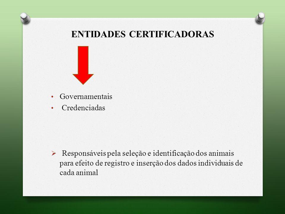 ENTIDADES CERTIFICADORAS Governamentais Credenciadas Responsáveis pela seleção e identificação dos animais para efeito de registro e inserção dos dados individuais de cada animal