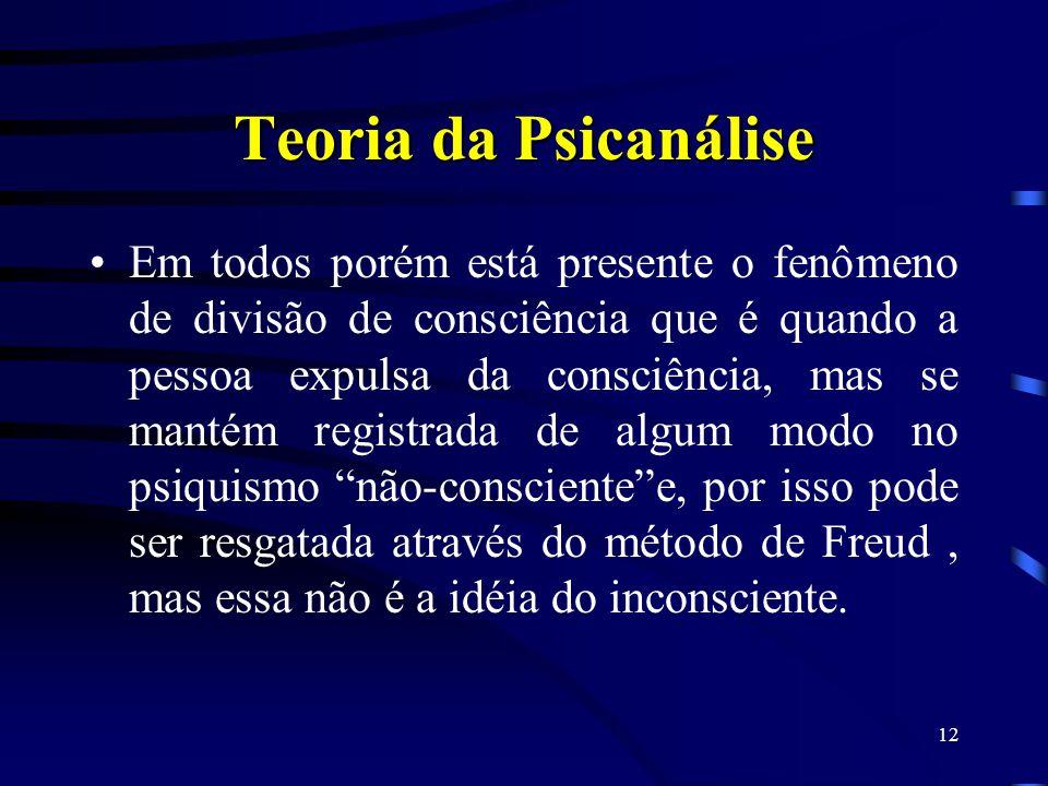 11 Teoria da Psicanálise A tese de Freud é que há uma causa entre um fato desencadeante(o trauma) e os sintomas, embora o paciente não se lembre dele,