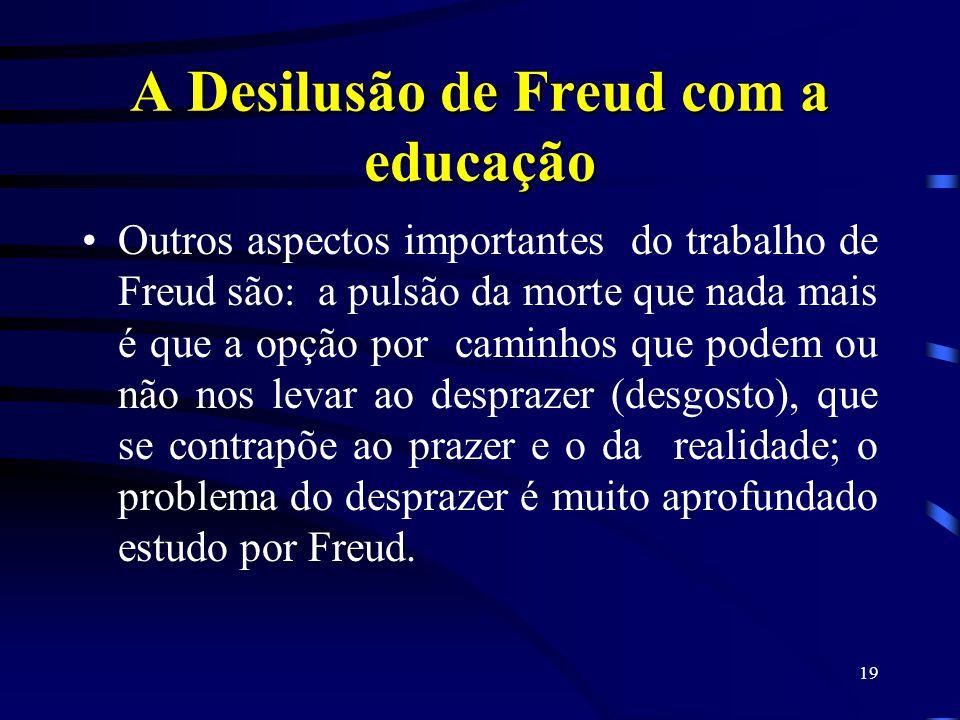 18 A Desilusão de Freud com a educação E a conclusão de tudo: a educação é uma profissão impossível ! ! ! Agora vermos um pouco do inconsciente que se