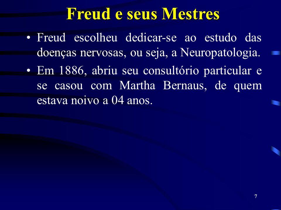 6 Freud e seus Mestres Assim que se formou, Freud começou a trabalhar no laboratório de Fisiologia de Ernest Brucke um venerado mestre, uma pessoa que