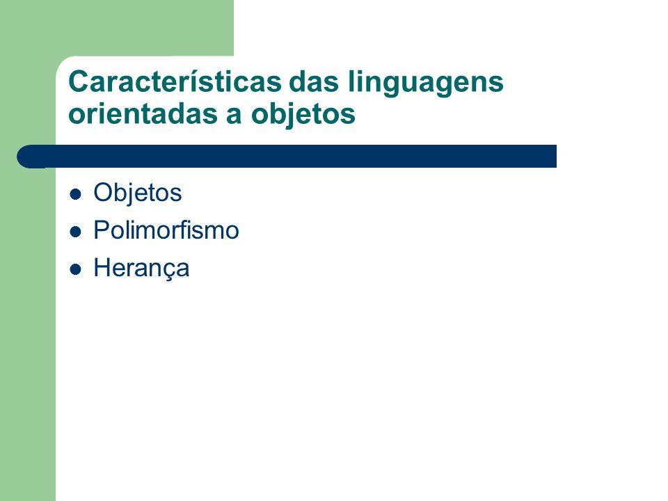 Características das linguagens orientadas a objetos Objetos Polimorfismo Herança