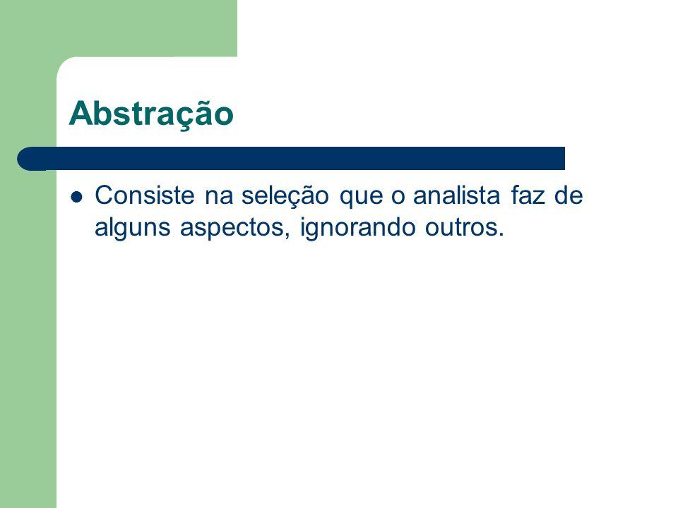 Abstração Consiste na seleção que o analista faz de alguns aspectos, ignorando outros.