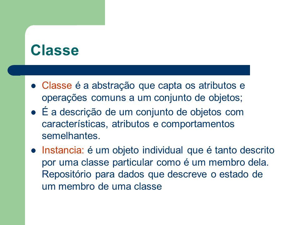 Classe Classe é a abstração que capta os atributos e operações comuns a um conjunto de objetos; É a descrição de um conjunto de objetos com características, atributos e comportamentos semelhantes.