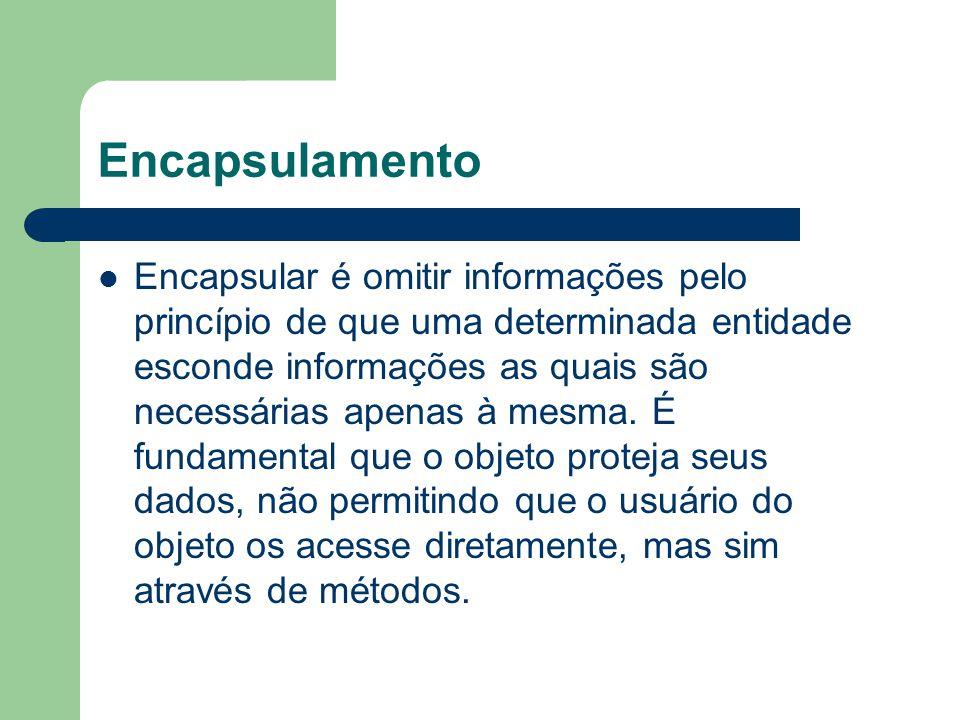 Encapsular é omitir informações pelo princípio de que uma determinada entidade esconde informações as quais são necessárias apenas à mesma.