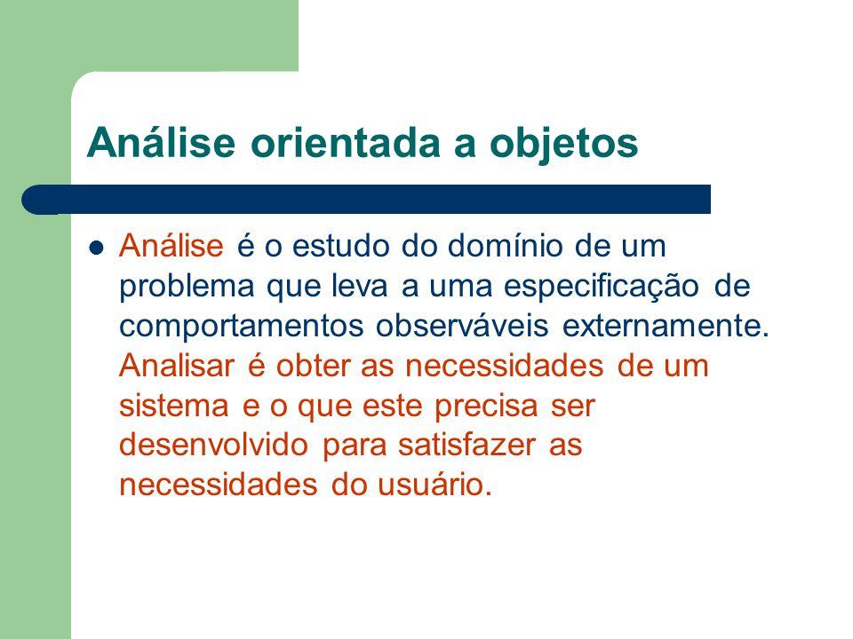 Análise orientada a objetos Análise é o estudo do domínio de um problema que leva a uma especificação de comportamentos observáveis externamente.