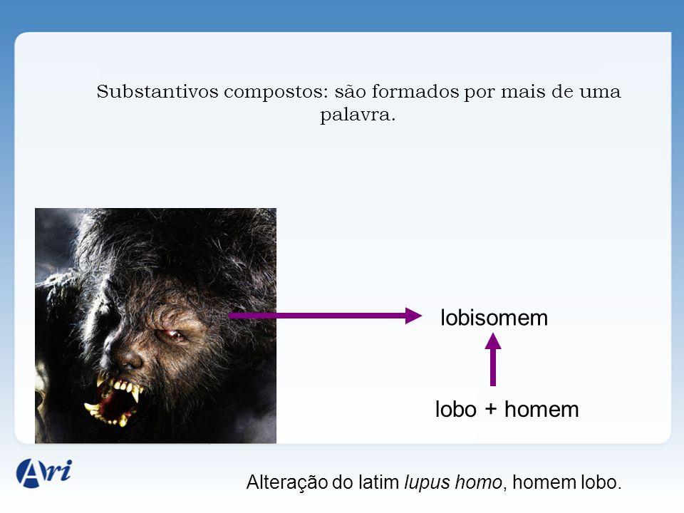 Substantivos compostos: são formados por mais de uma palavra. lobisomem lobo + homem Alteração do latim lupus homo, homem lobo.