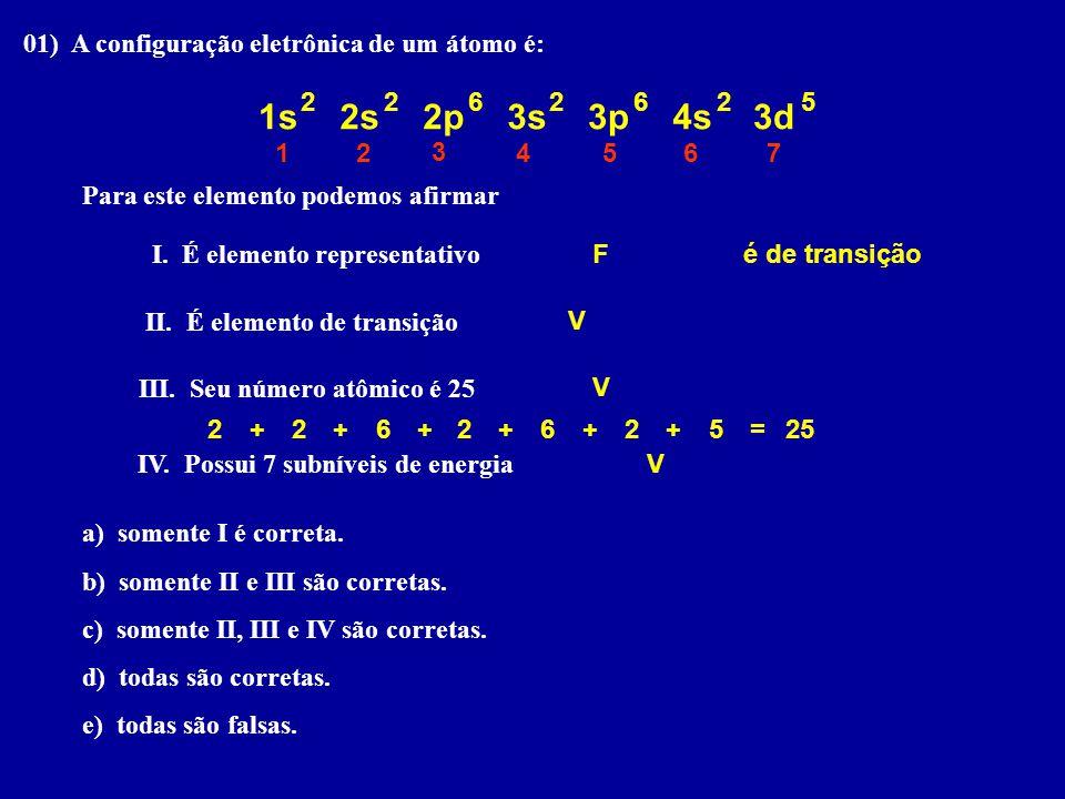 01) A configuração eletrônica de um átomo é: Para este elemento podemos afirmar I.