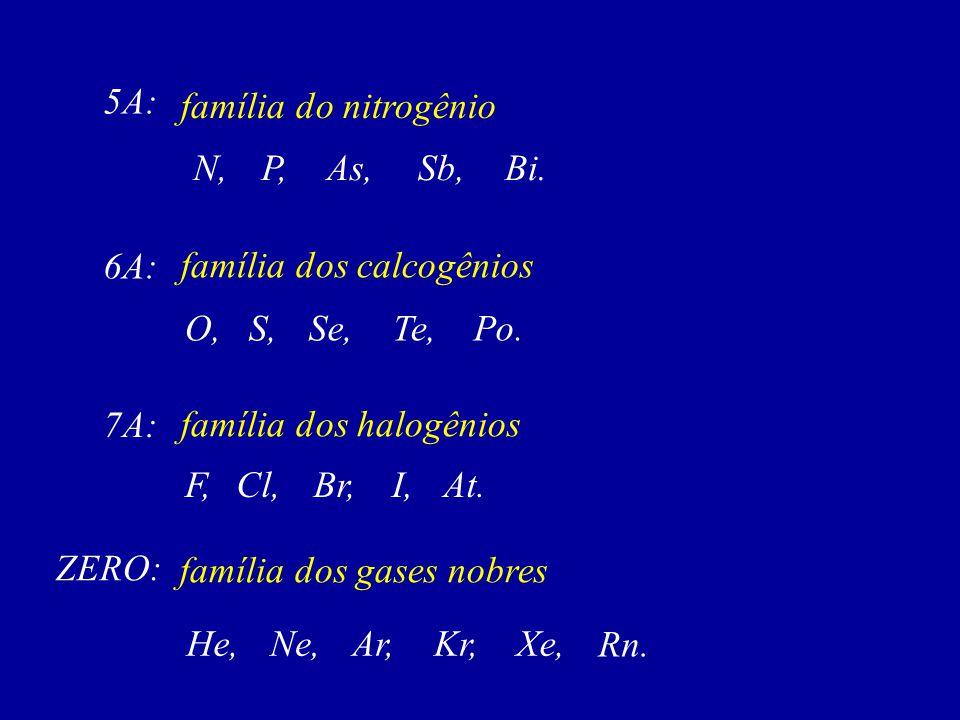 família do nitrogênio 5A: N,Bi.Sb,As,P, família dos calcogênios 6A: O,Po.Te,Se,S, família dos halogênios 7A: F,At.I,Br,Cl, família dos gases nobres ZERO: He,Xe,Kr,Ar,Ne, Rn.