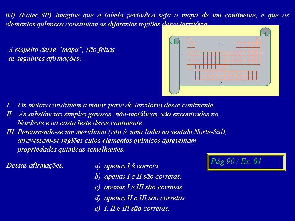 04) (Fatec-SP) Imagine que a tabela periódica seja o mapa de um continente, e que os elementos químicos constituam as diferentes regiões desse território.