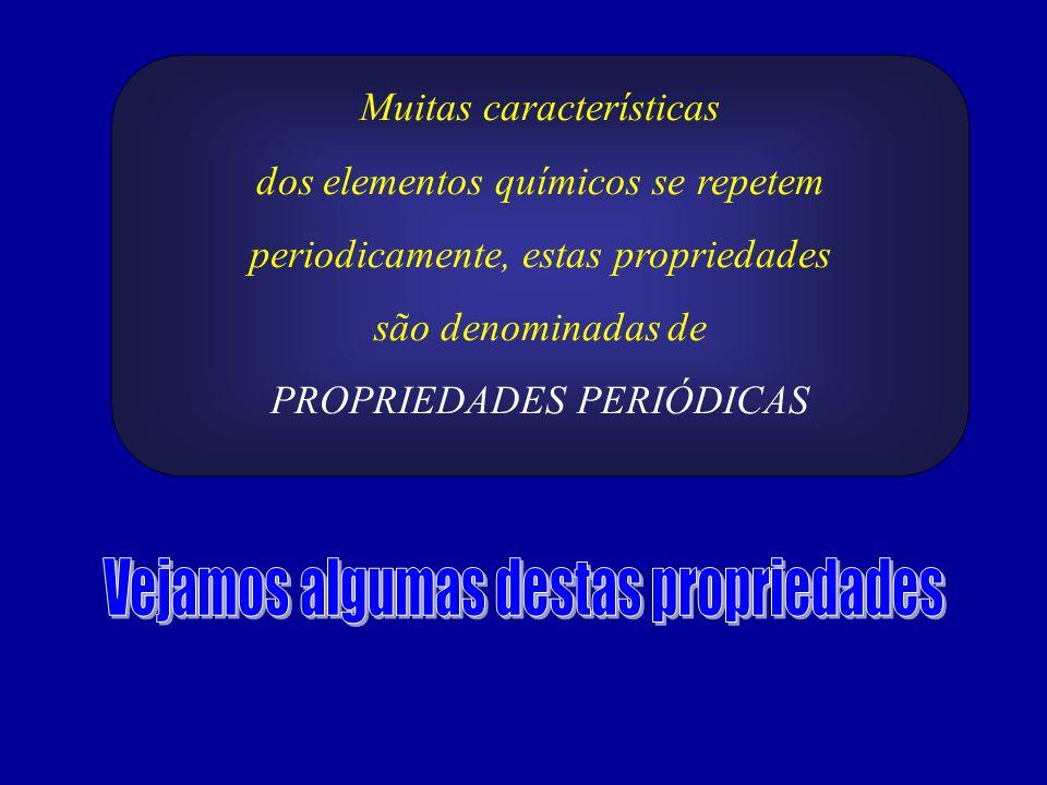 Muitas características dos elementos químicos se repetem periodicamente, estas propriedades são denominadas de PROPRIEDADES PERIÓDICAS
