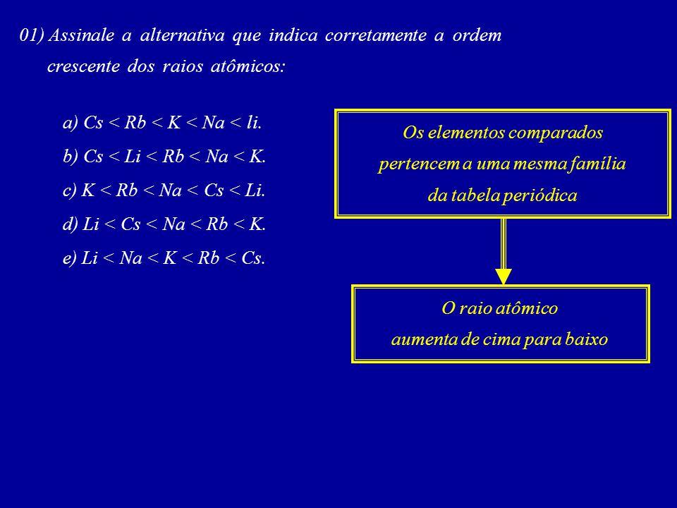 01) Assinale a alternativa que indica corretamente a ordem crescente dos raios atômicos: a) Cs < Rb < K < Na < li.