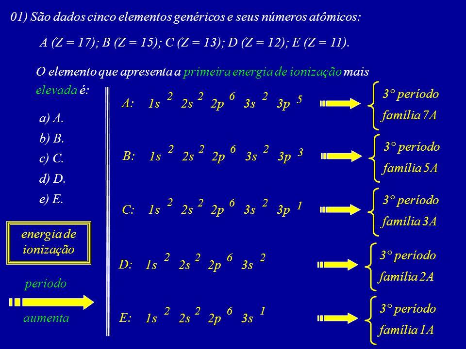01) São dados cinco elementos genéricos e seus números atômicos: A (Z = 17); B (Z = 15); C (Z = 13); D (Z = 12); E (Z = 11).