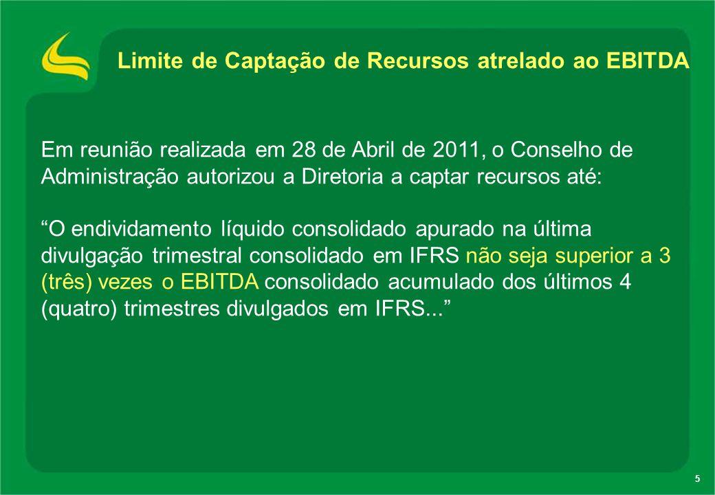5 Em reunião realizada em 28 de Abril de 2011, o Conselho de Administração autorizou a Diretoria a captar recursos até: O endividamento líquido consol