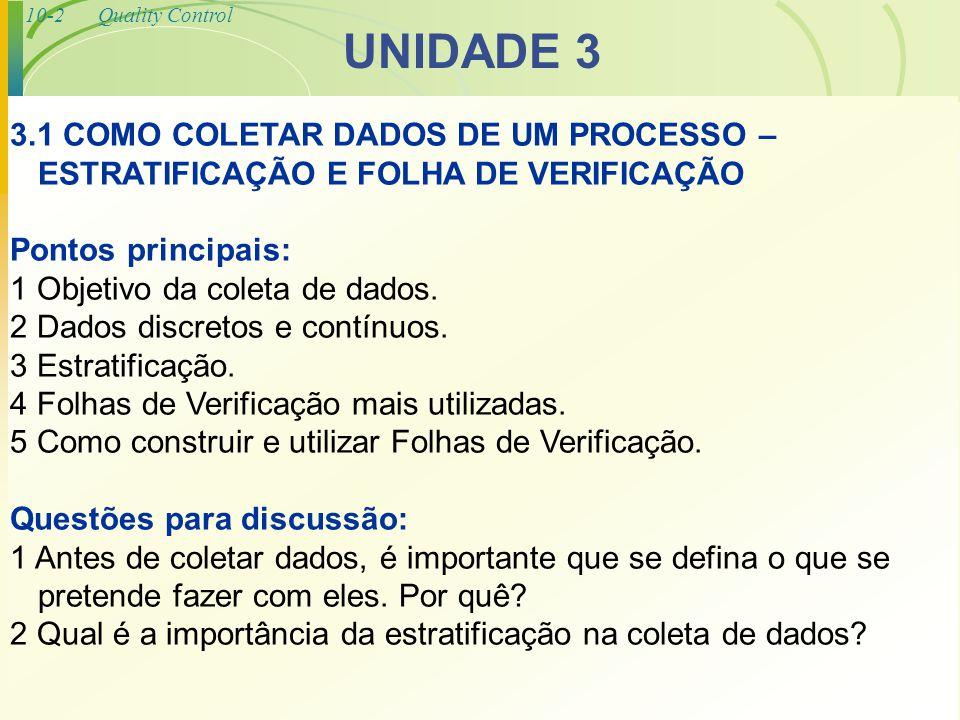 10-2Quality Control UNIDADE 3 3.1 COMO COLETAR DADOS DE UM PROCESSO – ESTRATIFICAÇÃO E FOLHA DE VERIFICAÇÃO Pontos principais: 1 Objetivo da coleta de