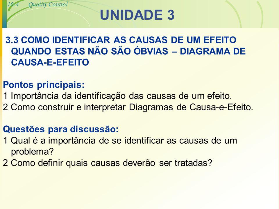 10-4Quality Control UNIDADE 3 3.3 COMO IDENTIFICAR AS CAUSAS DE UM EFEITO QUANDO ESTAS NÃO SÃO ÓBVIAS – DIAGRAMA DE CAUSA-E-EFEITO Pontos principais: