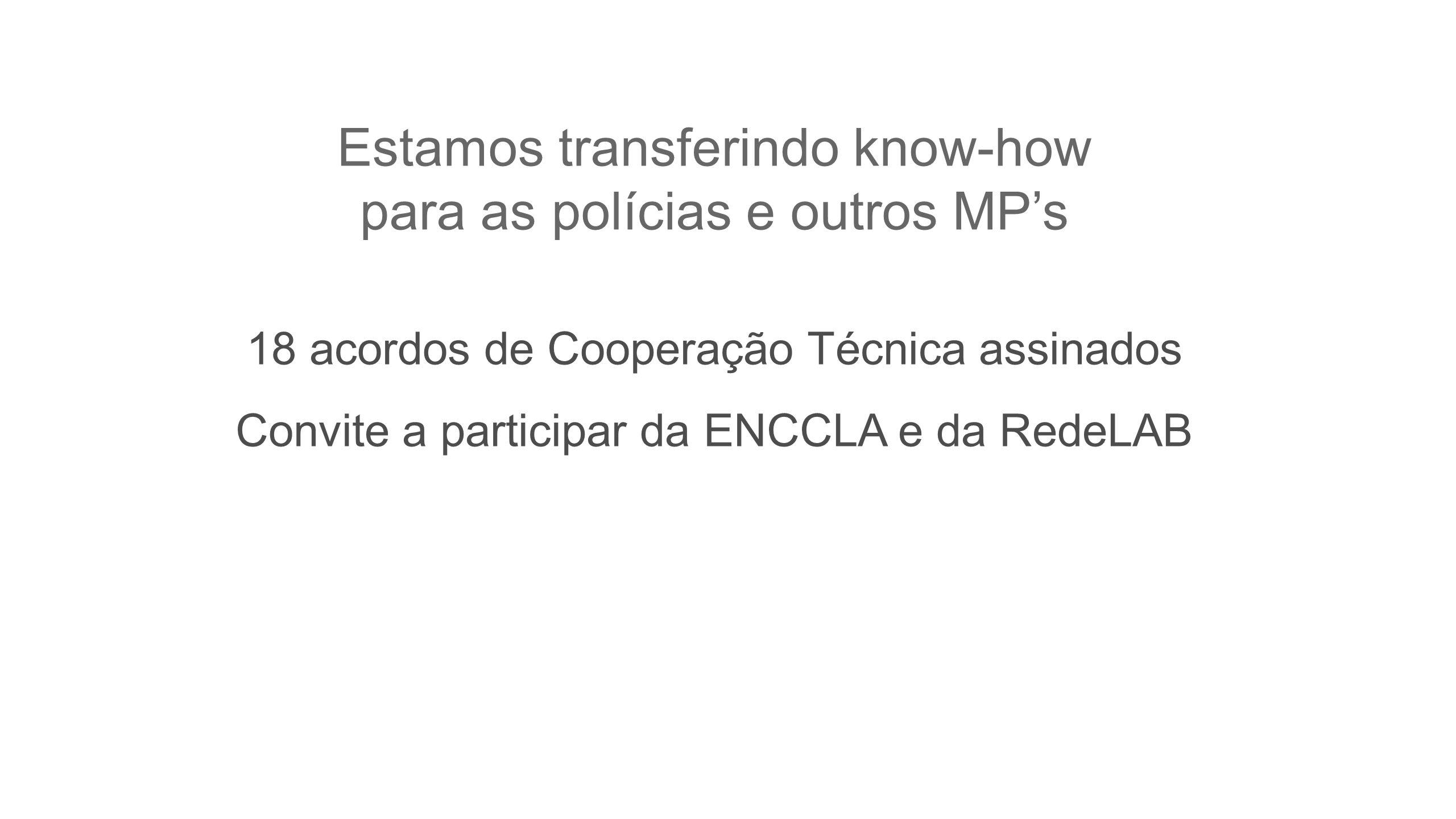Estamos transferindo know-how para as polícias e outros MPs 18 acordos de Cooperação Técnica assinados Convite a participar da ENCCLA e da RedeLAB