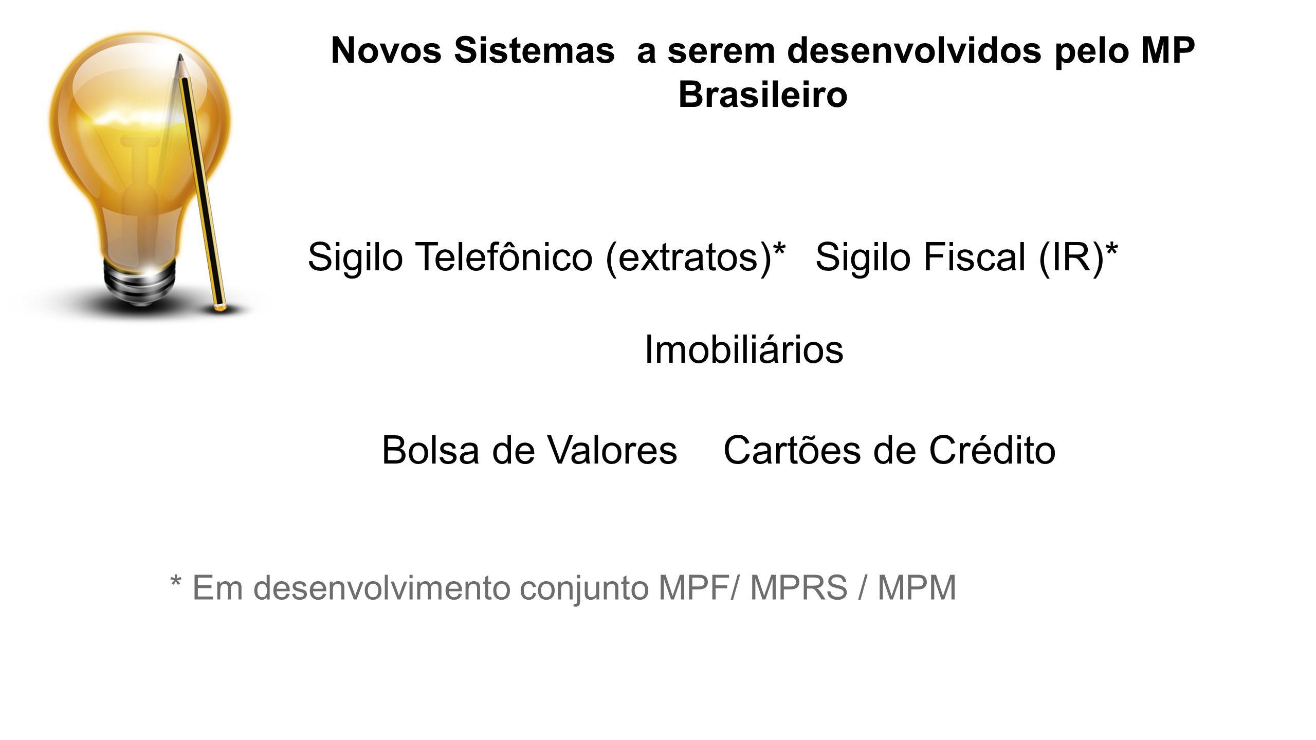 Sigilo Telefônico (extratos)*Sigilo Fiscal (IR)* Bolsa de Valores Imobiliários Cartões de Crédito Novos Sistemas a serem desenvolvidos pelo MP Brasile