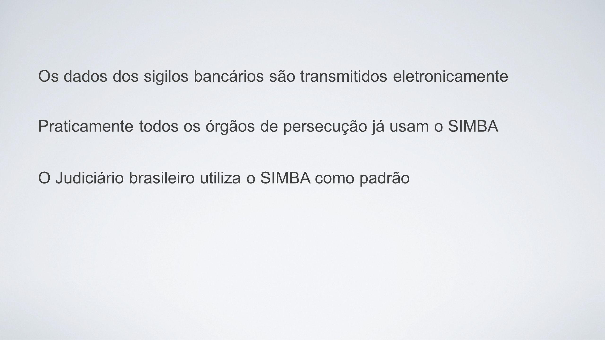 Praticamente todos os órgãos de persecução já usam o SIMBA Os dados dos sigilos bancários são transmitidos eletronicamente O Judiciário brasileiro uti
