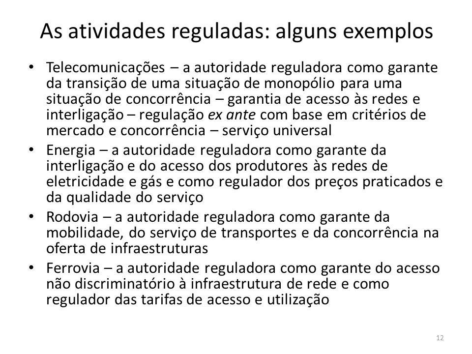 As atividades reguladas: alguns exemplos Telecomunicações – a autoridade reguladora como garante da transição de uma situação de monopólio para uma si