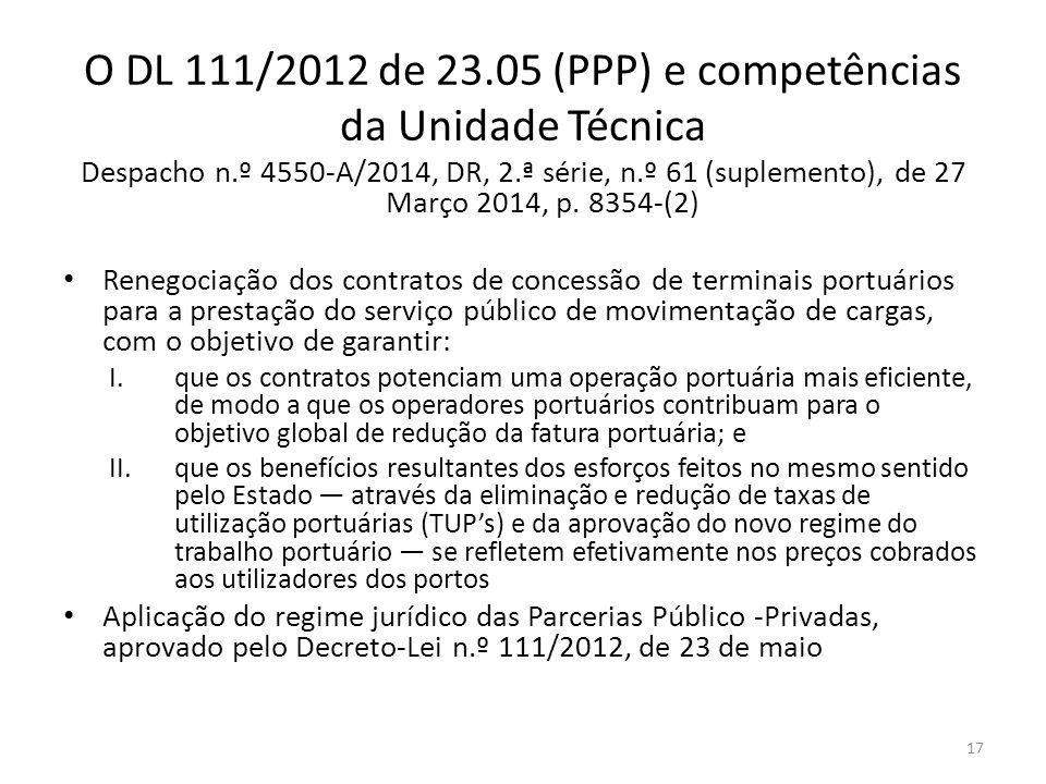 O DL 111/2012 de 23.05 (PPP) e competências da Unidade Técnica Despacho n.º 4550-A/2014, DR, 2.ª série, n.º 61 (suplemento), de 27 Março 2014, p. 8354