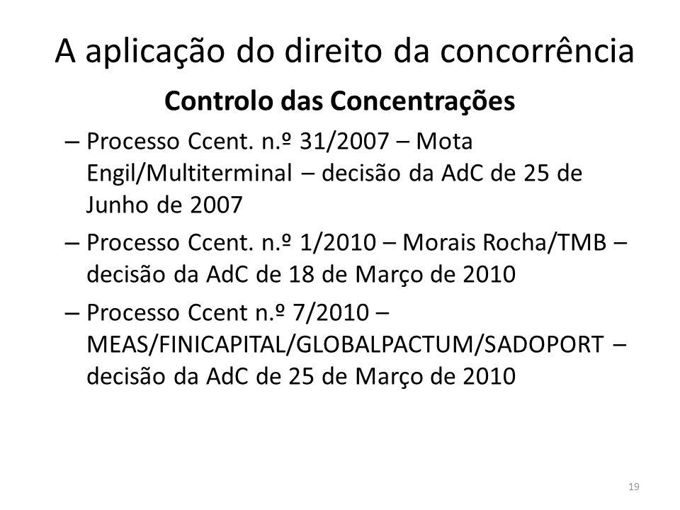 A aplicação do direito da concorrência Controlo das Concentrações – Processo Ccent. n.º 31/2007 – Mota Engil/Multiterminal – decisão da AdC de 25 de J
